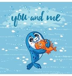 Cute card with cartoon baseal who hugs a fish vector