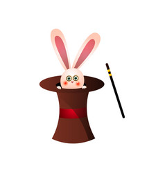 cute pink rabbit from circus magic top hat near vector image