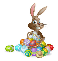 Easter bunny rabbit with easter eggs basket vector