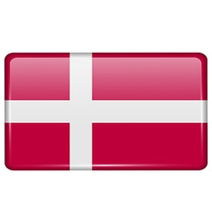 Flags Denmark in the form of a magnet on vector