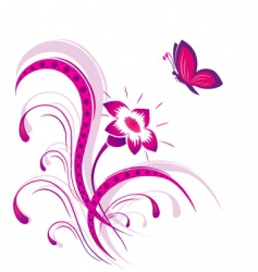 Flower pattern with butterfly vector