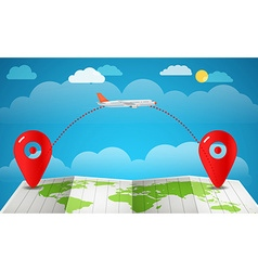 Flying aircraft vacation concept Flat design vector