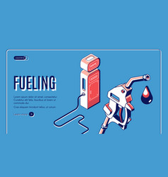 fueling gas gasoline diesel station isometric vector image