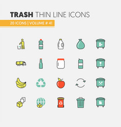 Garbage waste recycling linear thin line icons vector