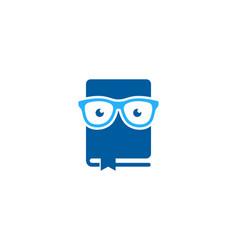 Glasses book logo icon design vector