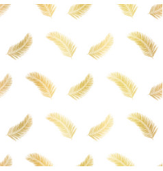 gold foil palm leaf plants or feathers seamless vector image