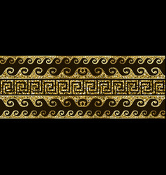 Gold glitter shiny greek seamless border pattern vector