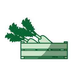 Green silhouette of thick contour of wooden box vector