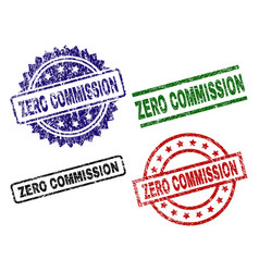 Grunge textured zero commission seal stamps vector