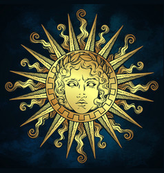 Hand drawn antique style gold sun apollo vector