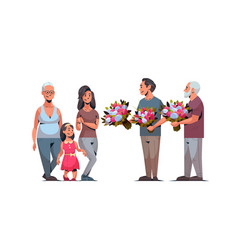 Happy multi generation family congratulating women vector