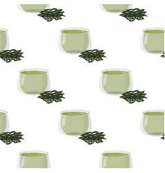 Hot green tea with a handful dry tea seamless vector