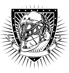 Ice hockey helmet shield vector