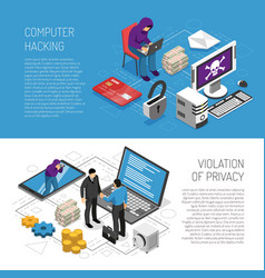 isometric hacker banners set vector image