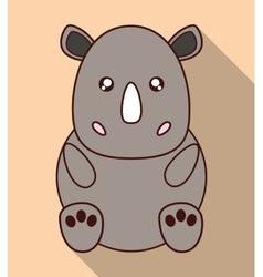 Kawaii rhino icon Cute animal graphic vector