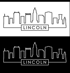 lincoln skyline linear style editable file vector image