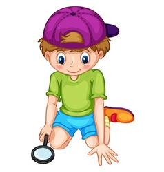 Little boy looking through magnifying glass vector