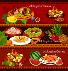 Malaysian cuisine banners with dinner dishes vector