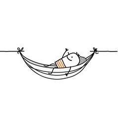 man in a hammock vector image