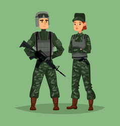 Military man and woman soldiers special forces vector