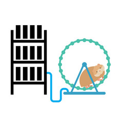 Mining farm and hamster in wheel produces vector