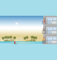 modern apartment on beach with resting peoplein vector image