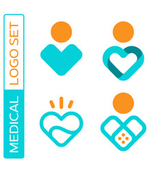 Modern professional icon set heart in medical vector