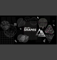 Modern universal trendy shapes glitch effects vector
