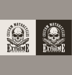 monochrome motorcycle repair service label vector image