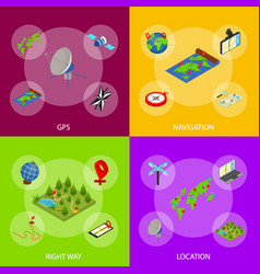 navigation methods tools signs 3d banner set vector image