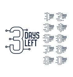 Number days left timer banner design vector