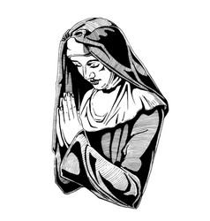 nun is praying vector image
