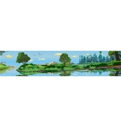 Panoramic landscape - metropolis lake river vector