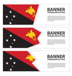 Papua new guinea flag banners collection vector