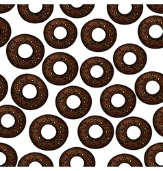 pattern chocolate donuts with sprinkles vector image