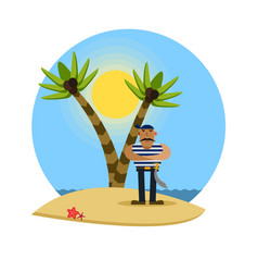 pirate on a tropical beach with palm trees vector image