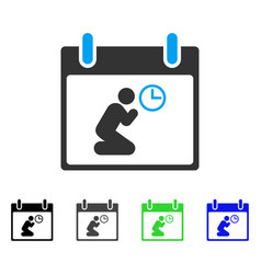 Pray time calendar day flat icon vector