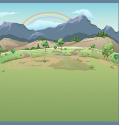 Rainbow in the mountains the sample cards on good vector