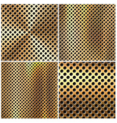 Realistic perforated brushed metal textures set vector