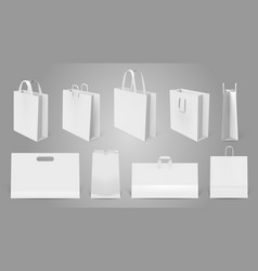 realistic shopping bag white paper empty bags 3d vector image