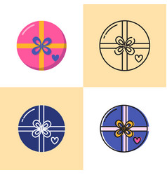round gift box icon set in flat and line styles vector image