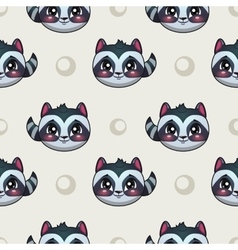 Seamless pattern with funny raccoon faces vector