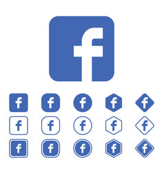 Set facebook flat icon on a white background vector