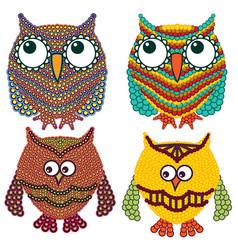 Set four amusing owls vector