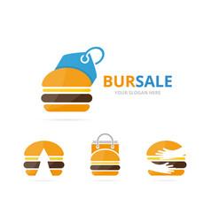 set of burger logo combination hamburger and shop vector image