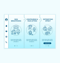 Skin care treatment effects onboarding template vector