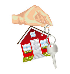 skin color hand holding keyring in house shape and vector image