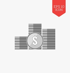 Stack of coins icon Flat design gray color symbol vector image