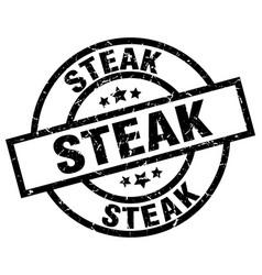 Steak round grunge black stamp vector