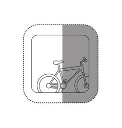 Sticker square silhouette button with contour vector